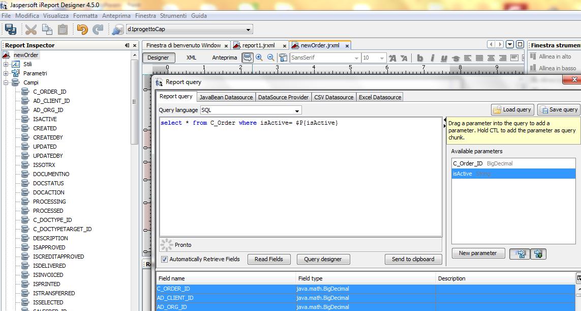 creazione query e parametri