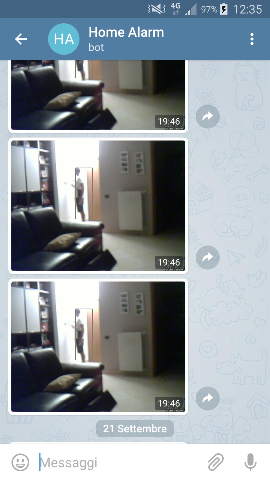allarme intrusione con foto sullo smartphone attraverso telegram